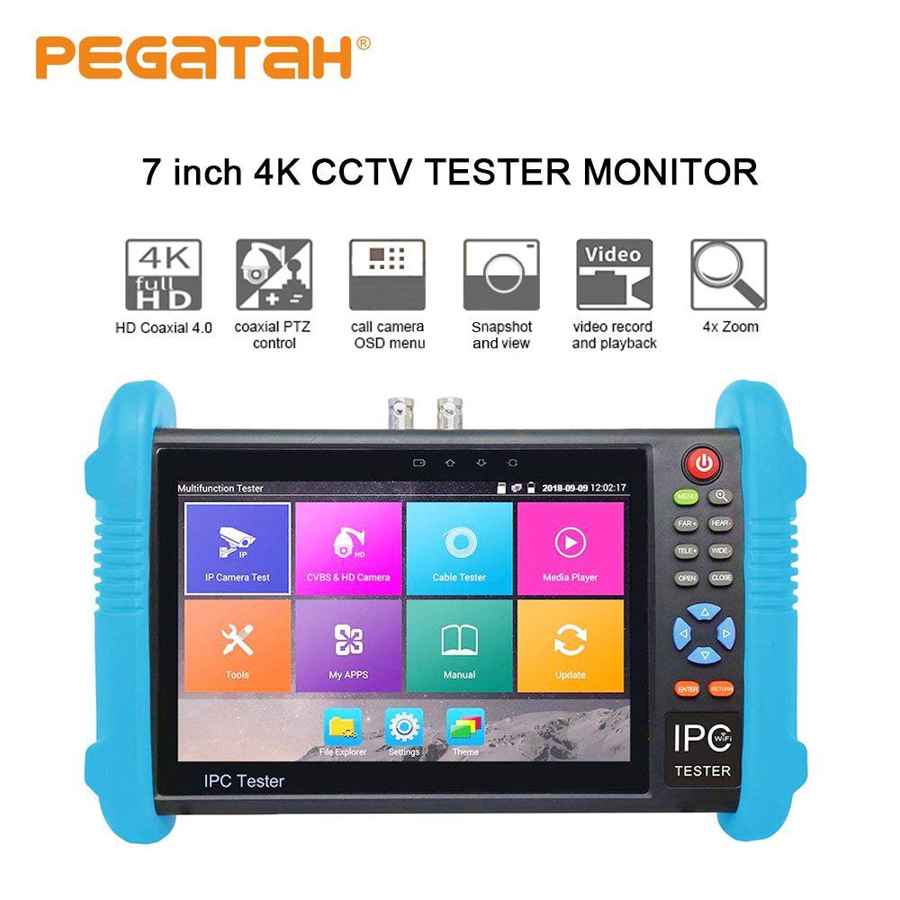 Neue 7 inch H.265 4K IP kamera tester 8MP TVI CVI 8MP AHD CCTV cameraTester Monitor mit RJ45 kabel UTC test HDMI in/ausgang POE