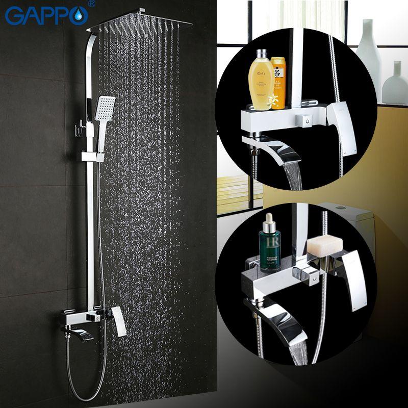 GAPPO shower faucet set bronze mixer tap waterfall wall shower head chrome Bathroom Shower set bathtub faucet GA2407 GA2407-8