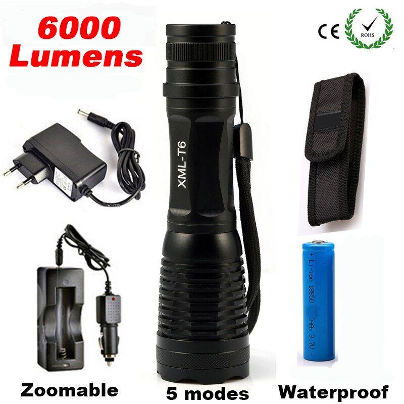 6000LM CREE XML T6 High Power LED <font><b>Flashlight</b></font> Aluminum LED Torch Zoomable Flash Light Torch Lamp+Charger+ Battery+Holster Holder