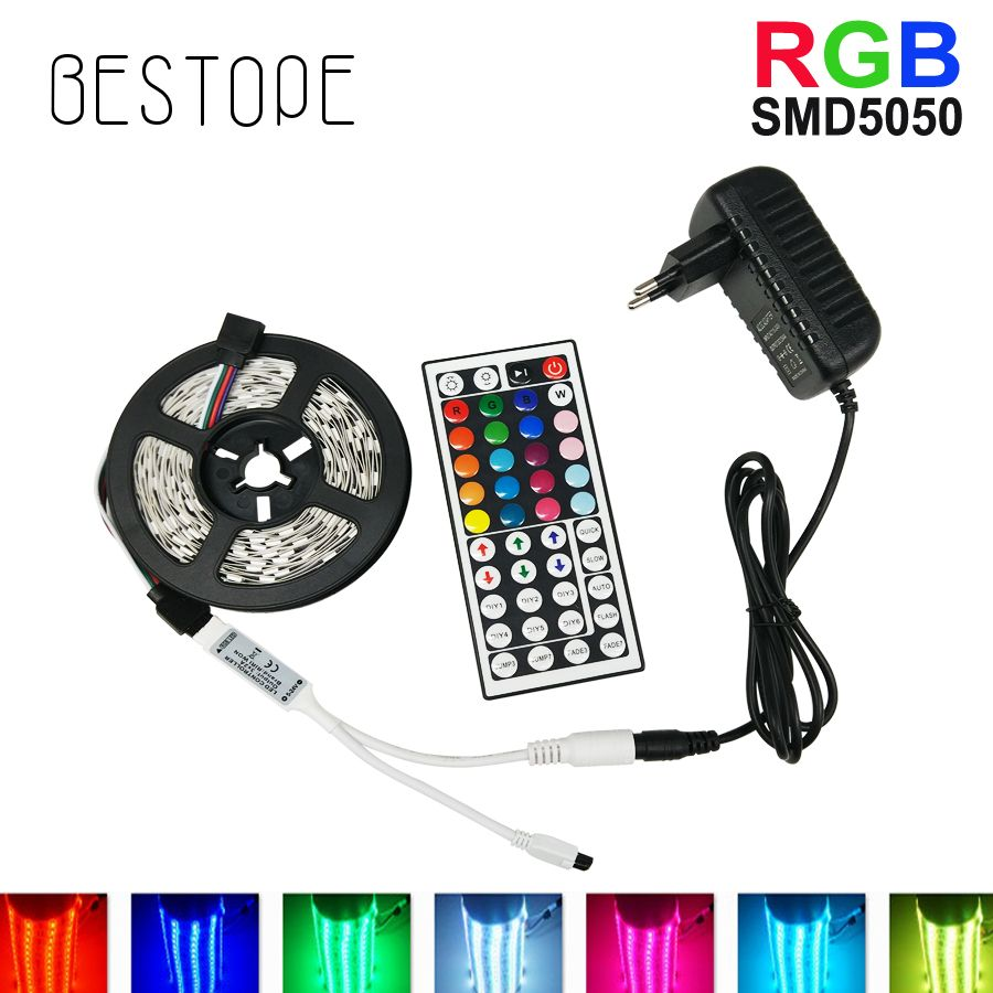 BESTOPE RGB LED Streifen Licht 5050/2835 SMD RGB Band 5 Mt 10 Mt LED Band lampe flexible Wasserdichte diode + IR Controlle + DC12V Adapter set