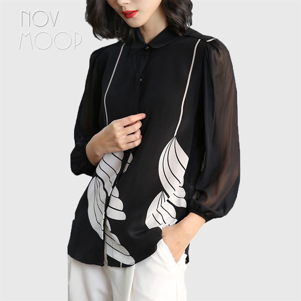 Büro stil damen pure natural silk tops und blusen schwarz weiß blumendruck seidenhemd roupa camisa blusa feminina LT1986
