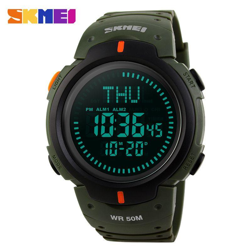SKMEI Compass Men Digital Wristwatches World Time Alarm Calendar Male Clock Waterproof Relogio <font><b>Masculino</b></font> Man Sports Watches 1231