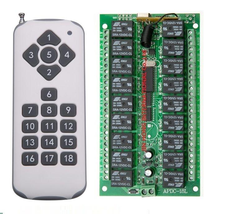 DC 12V  18CH RF Wireless Remote Control Switch System, Transmitter + Receiver,315/433.92 MHZ