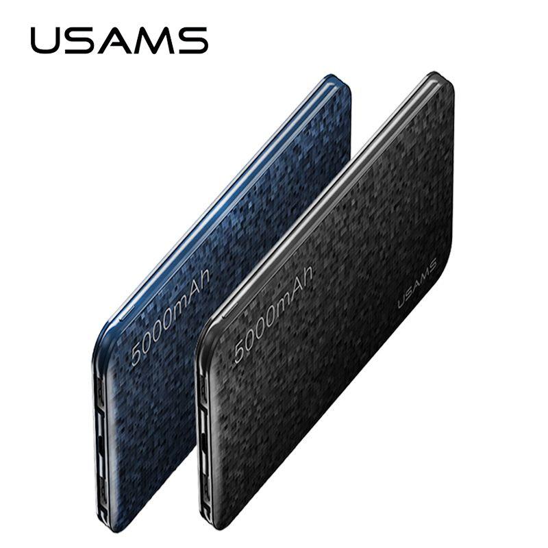 Batterie externe USAMS mosaïque Ultra mince 5000 mAh Powerbank pour téléphone portable iPhone