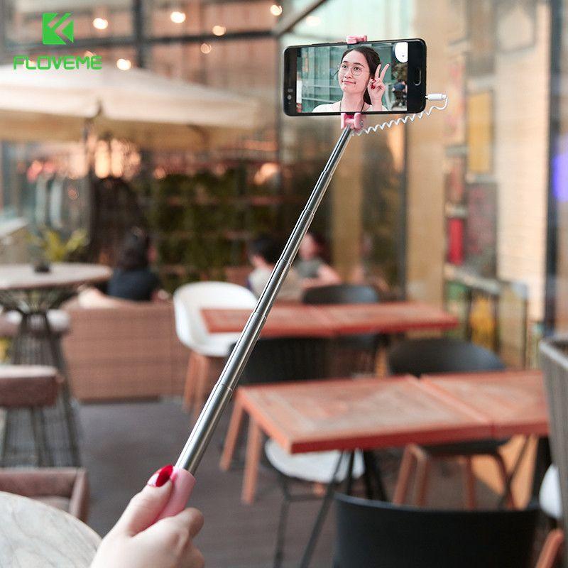 FLOVEME Mini Selbst Stick Für iPhone 4 5 6 s 6 Plus 6 s Einbeinstativ Sticks Für Samsung A7 A5 a3 2017 Für Android Mit Draht 3,5mm Jack