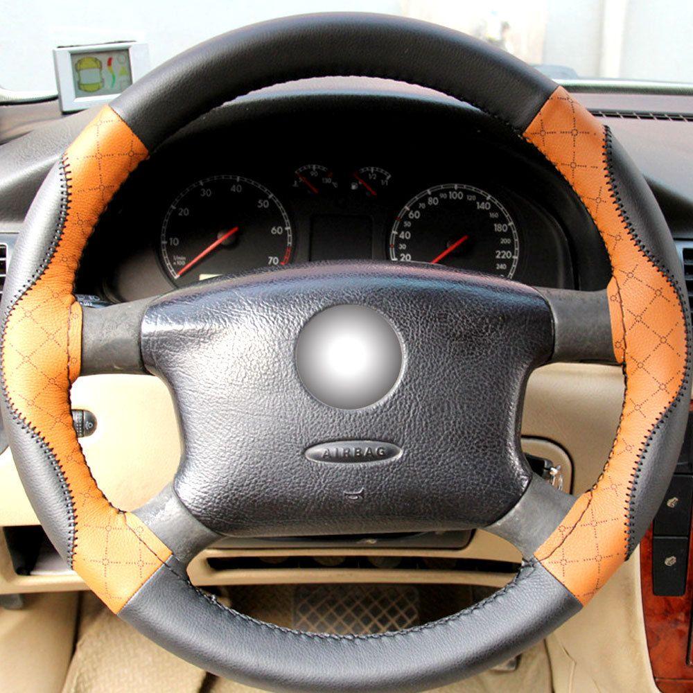 CNIKESIN 1PCS 38cm Non-slip Steering-wheel Cover Top Layer Leather DIY Car Steering Wheel Cover hand seam Steering wheel sheath