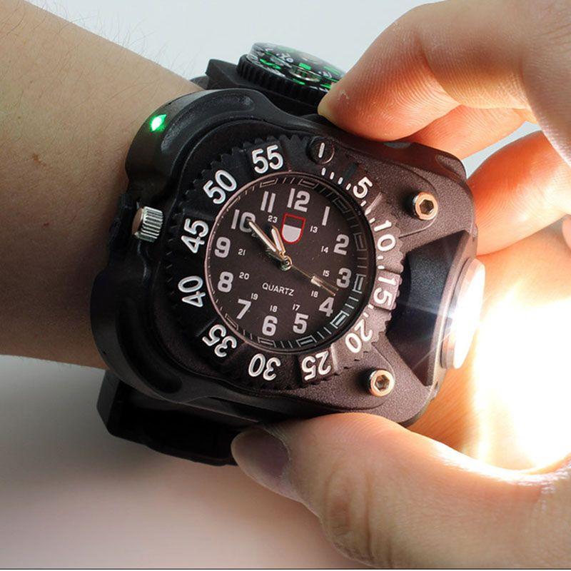 3in1 LED très brillante montre lampe de poche torche lumières boussole Sports de plein air hommes mode étanche Rechargeable montre-bracelet lampe
