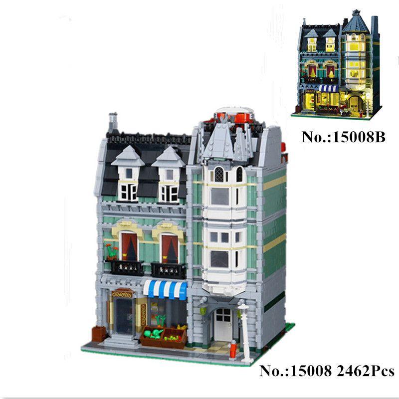 H&HXY IN STOCK 2462Pcs 15008 15008B City Street Green Grocer Model Building Kits Blocks Bricks Toys Gift LEPIN Compatible 10185