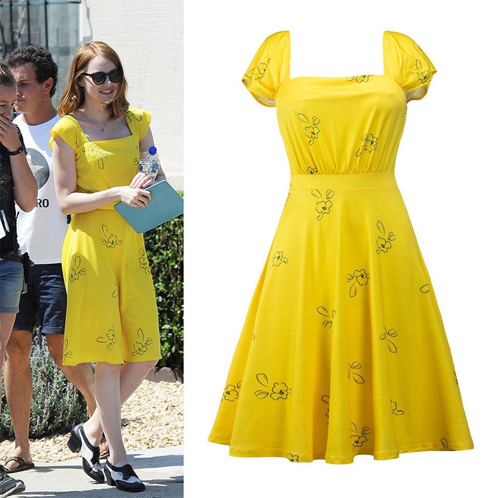 2018 nouveau La La terre robe Mia Emma cosplay costume pierre été jaune Floral robe patineuse Vestidos pour adultes