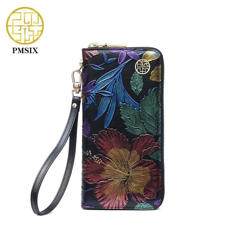 PMSIX 2018 New Cowhide Ladies Genuine Leather Wallets Embossed Flower Wristlet Phone Wallet Women Designer Evening Bags P410018