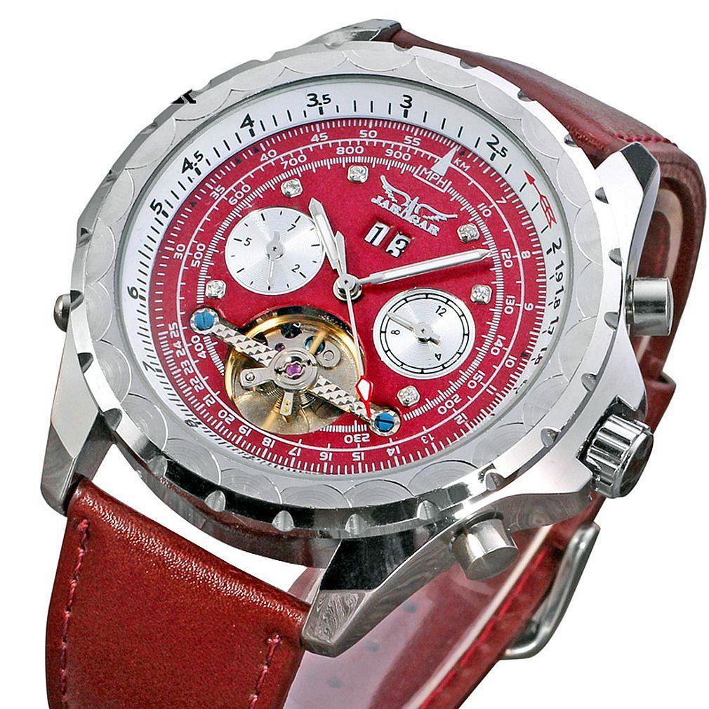 New Fashion Luxury JARAGAR Tachymeter Tourbillon Automatic Date Dial Leather Strap Chronograph Mechanical Men Gift Wrist Watches
