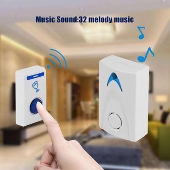 DC3V LED Sans Fil Carillon Sonnette Batterie Alimenté 32 Chansons Tune 1 Télécommande 1 Sans Fil Sonnette de Porte de haute qualité