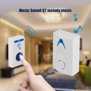 DC3V LED Wireless Chime Doorbell Battery Powered 32 Tune Songs 1 Remote Control 1 Wireless Doorbell Door Bell high quality