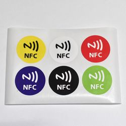 6pcs/lot NTAG213,NFC tags RFID adhesive label sticker,compatible with all nfc products dia 30mm