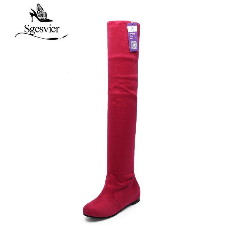 Sgesvier Для женщин Сапоги и ботинки для девочек модные ботинки на плоской подошве на зиму или осень; замшевые высокие сапоги до колена Брендова...