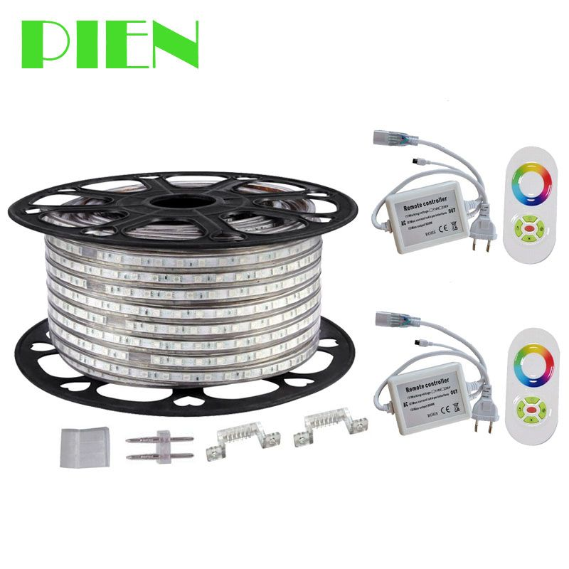 <font><b>220V</b></font> 110V LED Strip 5050 50m 100m IP67 Waterproof RGB RGBW Dual Color Rope lighting for outdoor with RF Remote controller DHL
