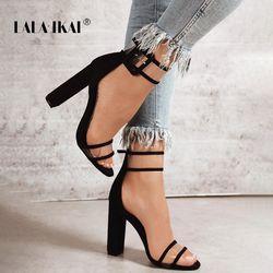 LALA IKAI Woman Sandals Gold Metallic Clear Strap High Heels Fashion Transparent Summer Shoes Women Pump 900C0724 -4