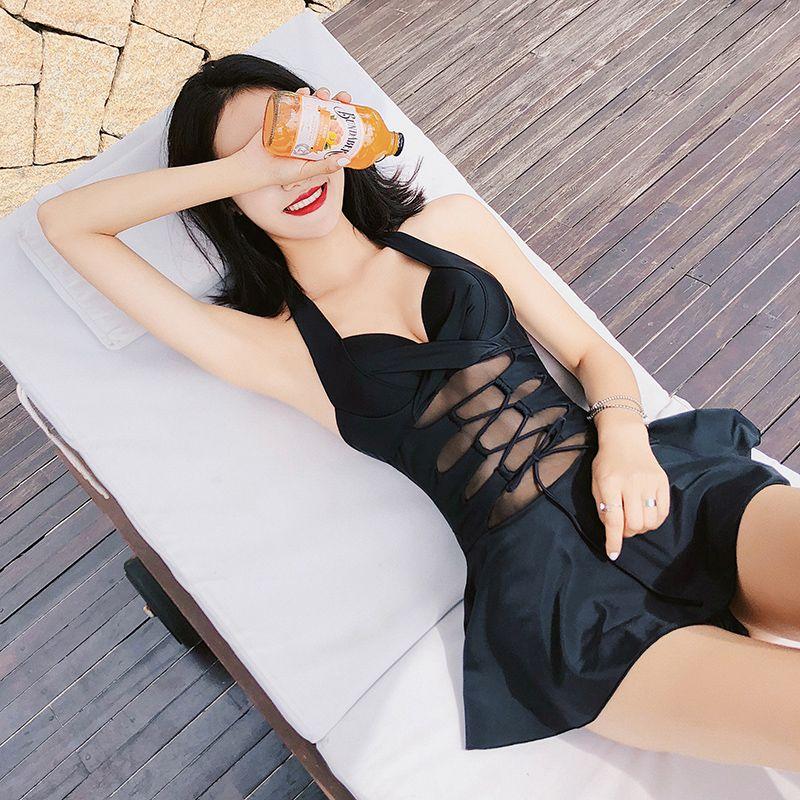 Sexy Black mesh Push Up Pleated skirt one piece swimsuit 2018 new Cross straps women swimwear Asian Beach women bathing suits