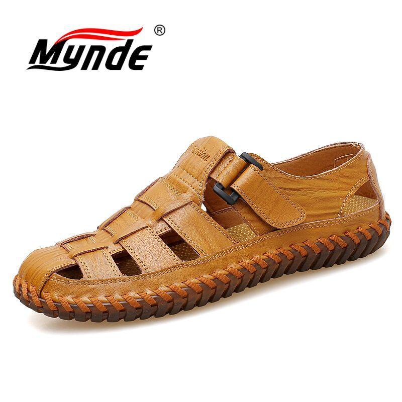 MYNDE Men Cow Leather Sandals Outdoor 2019 Summer Handmade Men Shoes Men Breathable Casual Shoes Footwear Walking Sandals