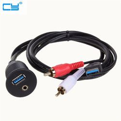 High Speed USB 3.0 & 3.5mm AUX to USB3.0 2 RCA Extension Lead Flush Mount Cable Cord for Car Boat Truck Bike Motorcycle 1m/2m