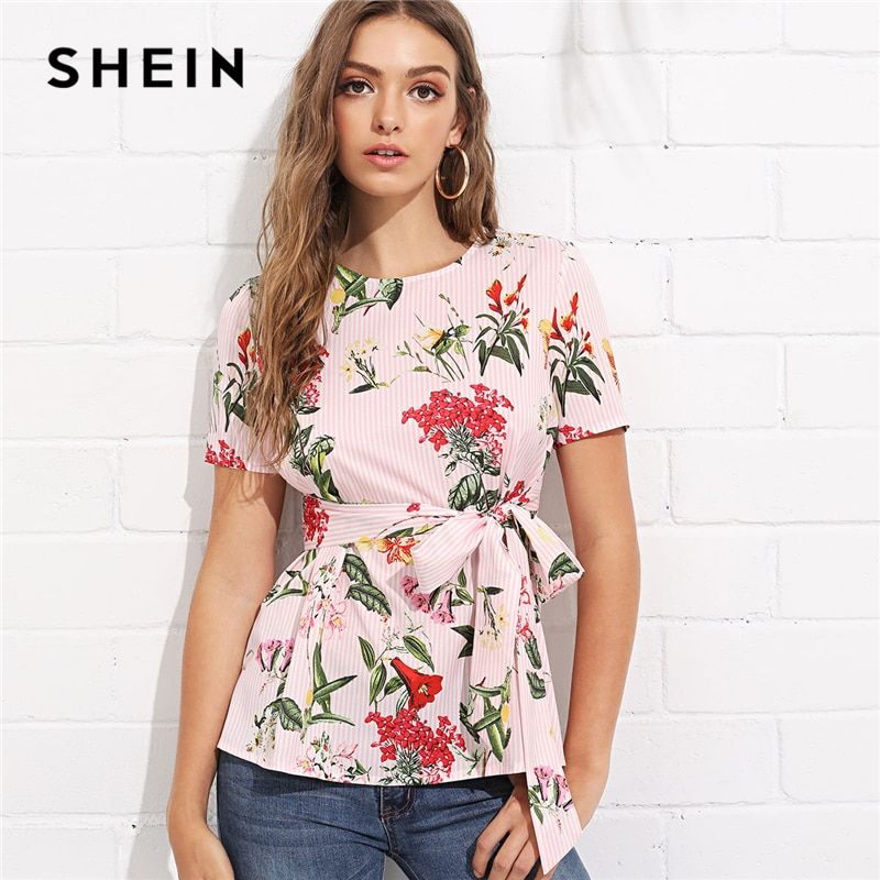 SHEIN Multicolor Vacation Bohemian Beach Floral Print Striped Round Neck Short Sleeve <font><b>Self</b></font> Tie Blouse Summer Women Shirt Top