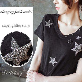 8 cm Glitter étoiles conception correctif strass motif de fer sur les patchs applique pour le transfert de chaleur vêtements sac à chaussures diy 10 pcs/lot