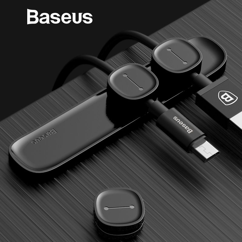 Baseus Magnetic Cable Clip For Mobile Phone USB Data Cable Organizer For USB Charger Cable Magnetic Holder Desktop Cable Winder