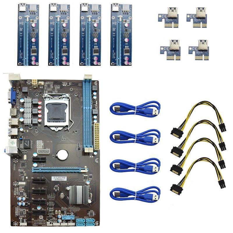 Chargeur USB 3.0 4 Pcs PCI-E Riser Card + 1 pcs Nouveau Professionnel 6 GPU Minière Carte Mère Pour L'exploitation Minière Ordinateur