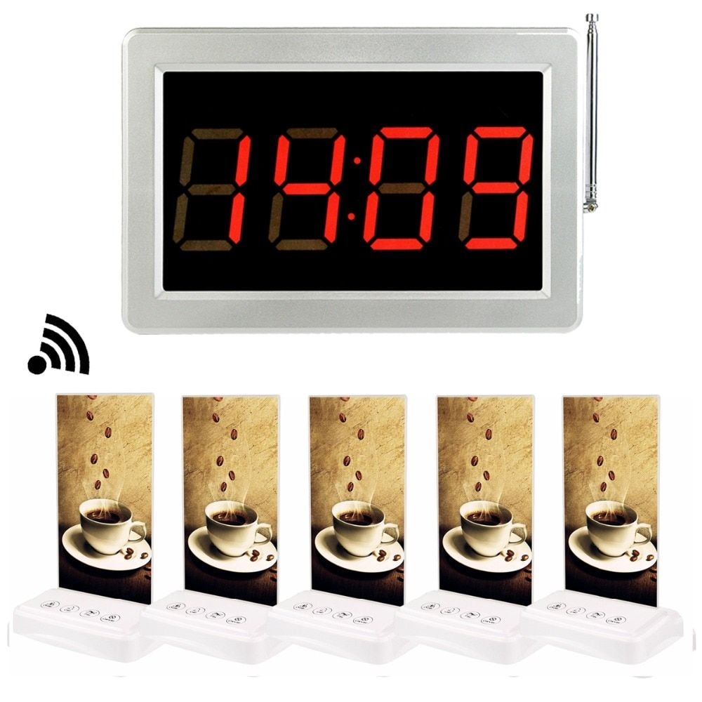 Restaurant Pager Wireless Calling System 5pcs Call Transmitter Button Table Card Pager+1pcs Receiver Host F3355