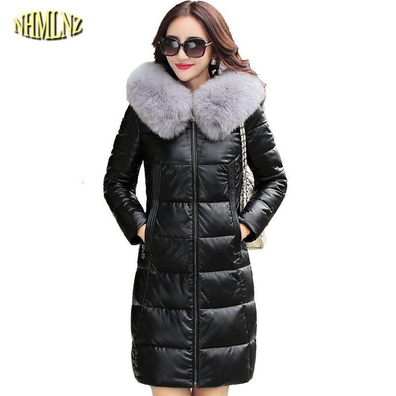 Winter Frauen Jacke hochwertigen Dicker Große größe Lange Wahre leder mantel Mit Kapuze Wahr fuchspelz Warme Echtes leder mantel WK257