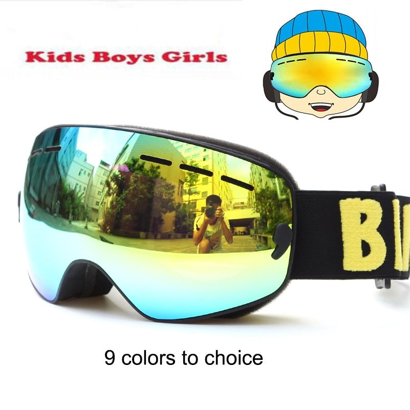 Brand Snowboard goggles Kids Double Lens UV400 Anti-fog Ski Snow Glasses Child Skiing Mask Winter Girls Boys Eyewear Gafas 4-15