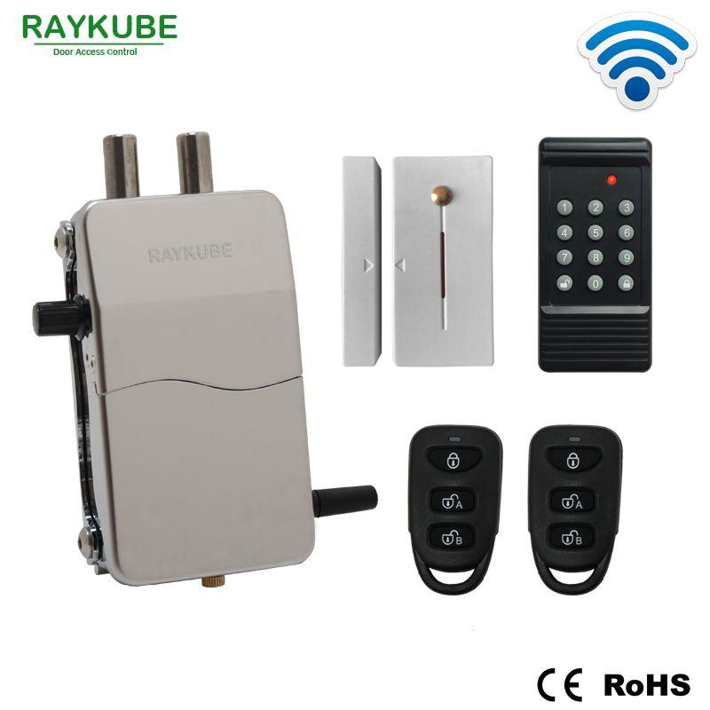 RAYKUBE Zugangskontrolle Kits Wireless 433 MHZ Elektrische Türschloss Sicherheit Tür Mit Passwort Keypad Fernbedienung Lockey R-W39