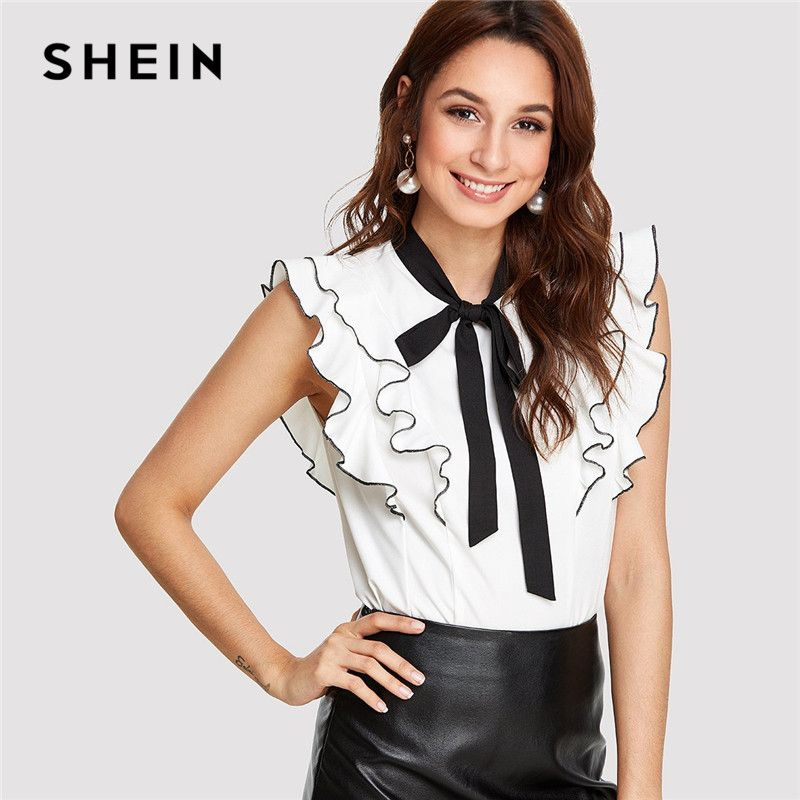 SHEIN Office Lady <font><b>Elegant</b></font> Workwear Black and White Colorblock Womens Tops and Blouses Tie Neck Layered Ruffle Trim SummerTop