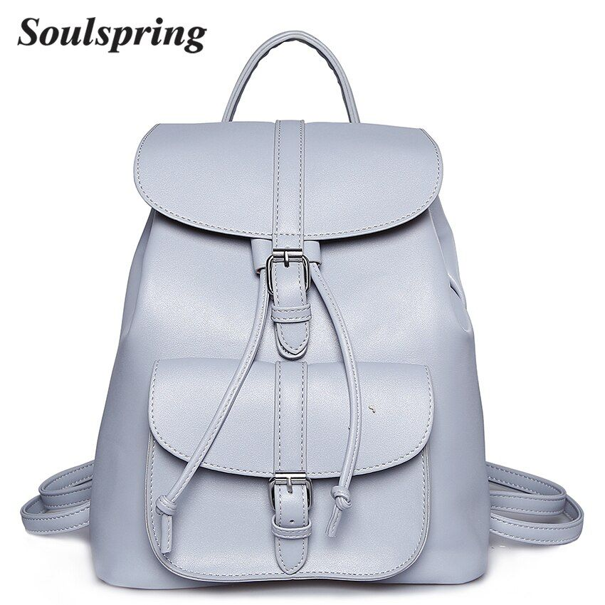 Brand Pu Leather Backpack Women School Bags For Teenagers Girls <font><b>String</b></font> Backpacks Medium Female Backpack Ladies Shoulder Bag 2018