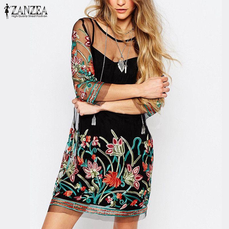ZANZEA Women Summer Dress 2018 Boho Vintage Floral Embroidery Lace Mesh <font><b>Mini</b></font> Dresses Casual See Through Vestidos Plus Size