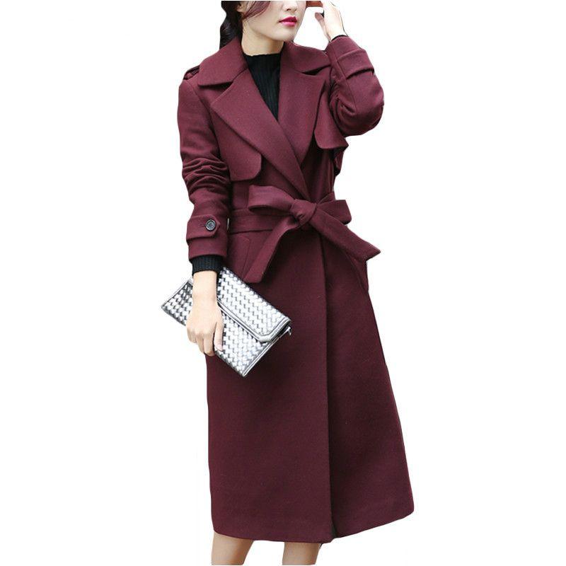 Neue Herbst Wintermantel Frauen Zweireiher Wollmantel Elegante Lange mantel mit Gürtel Marke Frauen Verdicken Warme Jacke Plus Größe 2XL