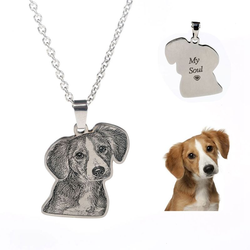 Custom Personalized Pet/Cat/Dog Photo Necklace Pendants Stainless Steel Engrave Name Necklace Women Men Jewelry Memorial Gift