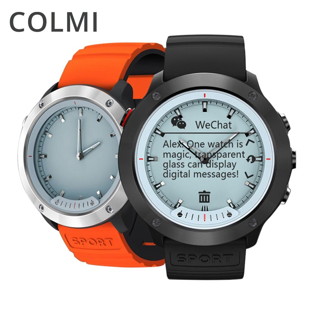 COLMI M5 Smart Watch Transparent Screen Men <font><b>IP68</b></font> Waterproof Heart Rate Monitor Stainless Steel Clock Smartwatch For IOS Android