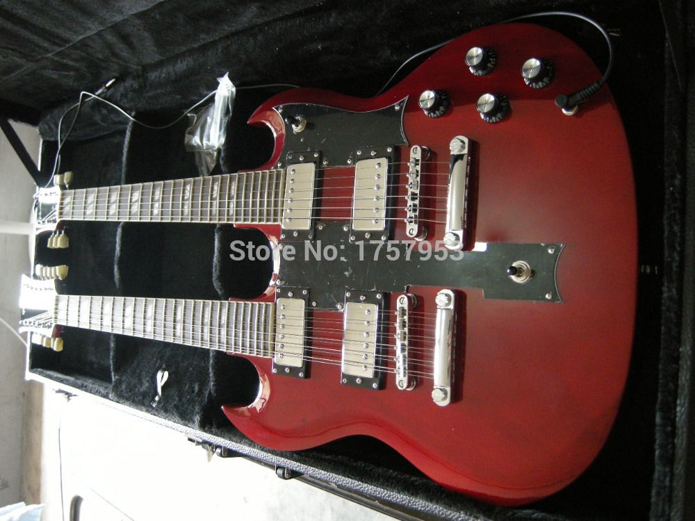 Factory custom shop Newest 6+12 Strings Custom Guitar EDS-1275 red double neck SG electric guitar Does not include case