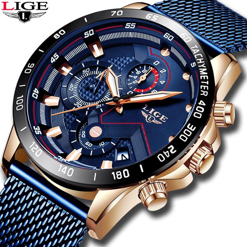 LIGE mode hommes montres Top marque de luxe montre-bracelet Quartz horloge bleu montre hommes étanche Sport chronographe Relogio Masculino