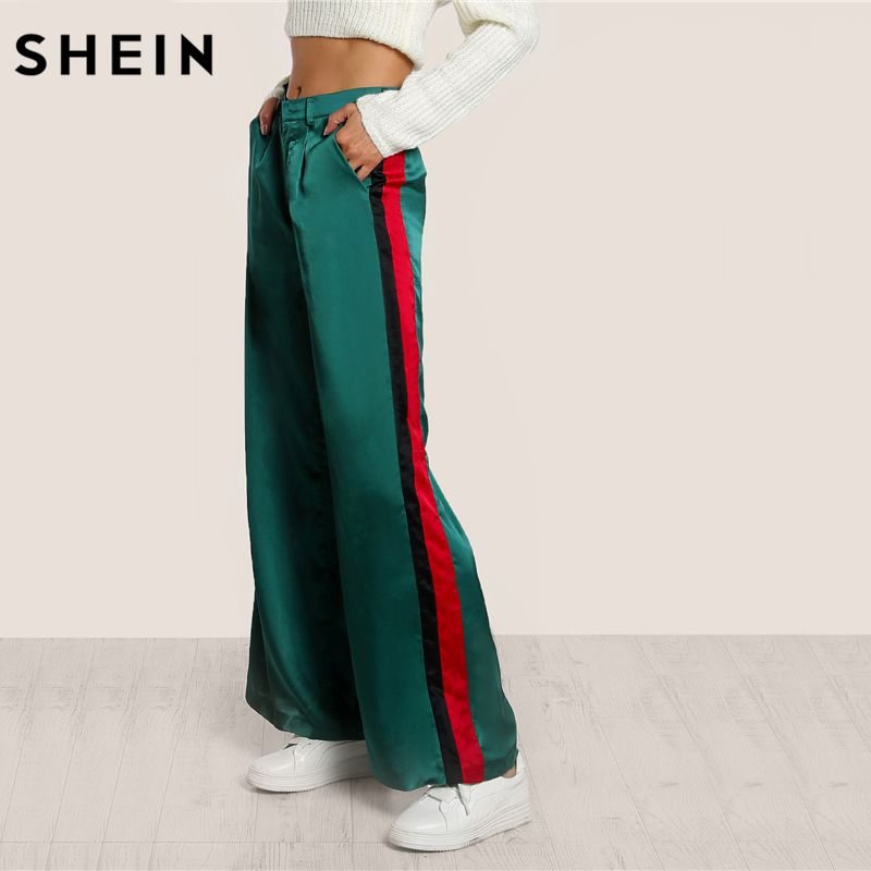 SHEIN Striped Side Tailored Wide Leg Pants Green High Waisted Pants Zipper Fly Casual Trousers <font><b>Elegant</b></font> Loose Pants