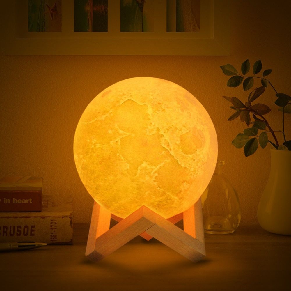 Drop Shipping 3D Print Moon Lamp 2colors LED Night Light for Home Christmas Decoration