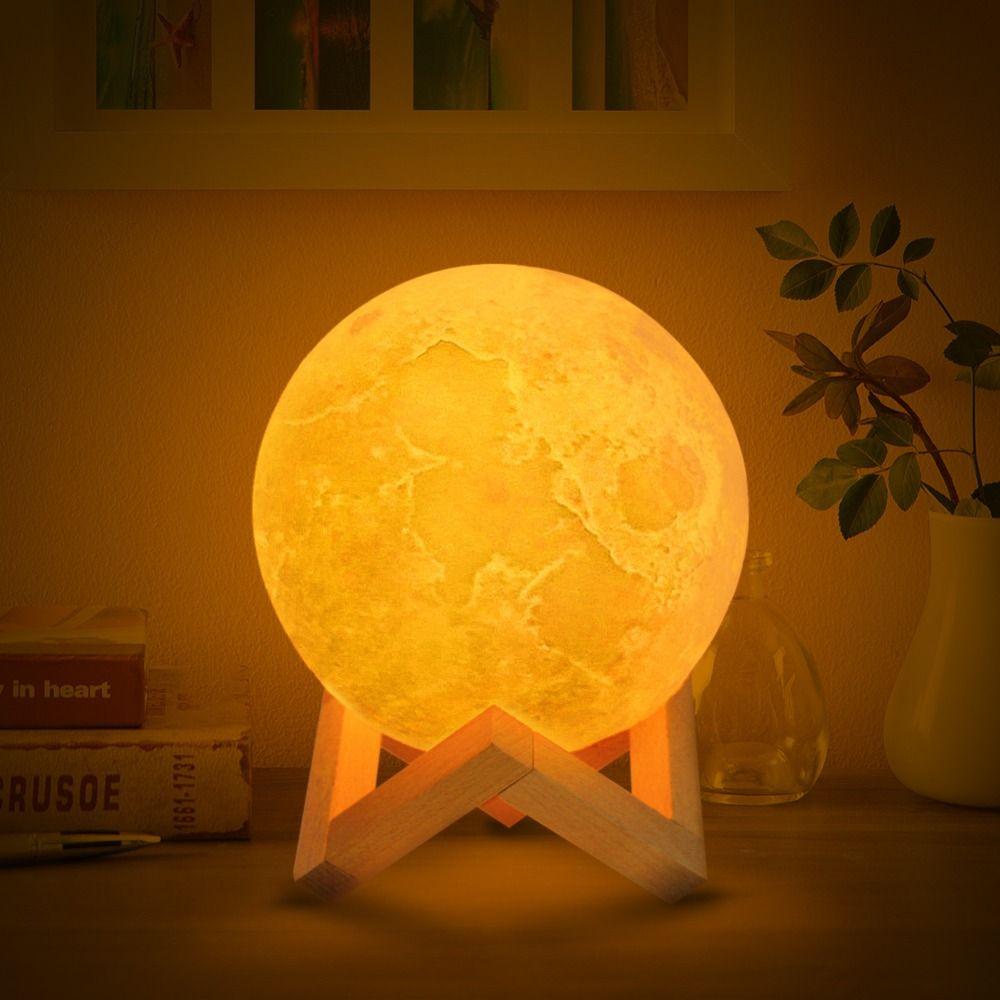 Livraison directe 3D Impression lampe de lune 2 couleurs led Night Light pour décoration de noël pour la maison