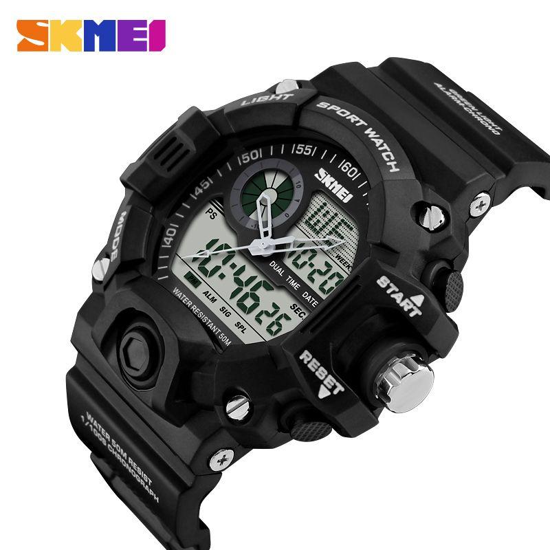 SKMEI montre de sport hommes LED montres numériques double affichage extérieur 50 M étanche montre-bracelet militaire Relogio Masculino 1029
