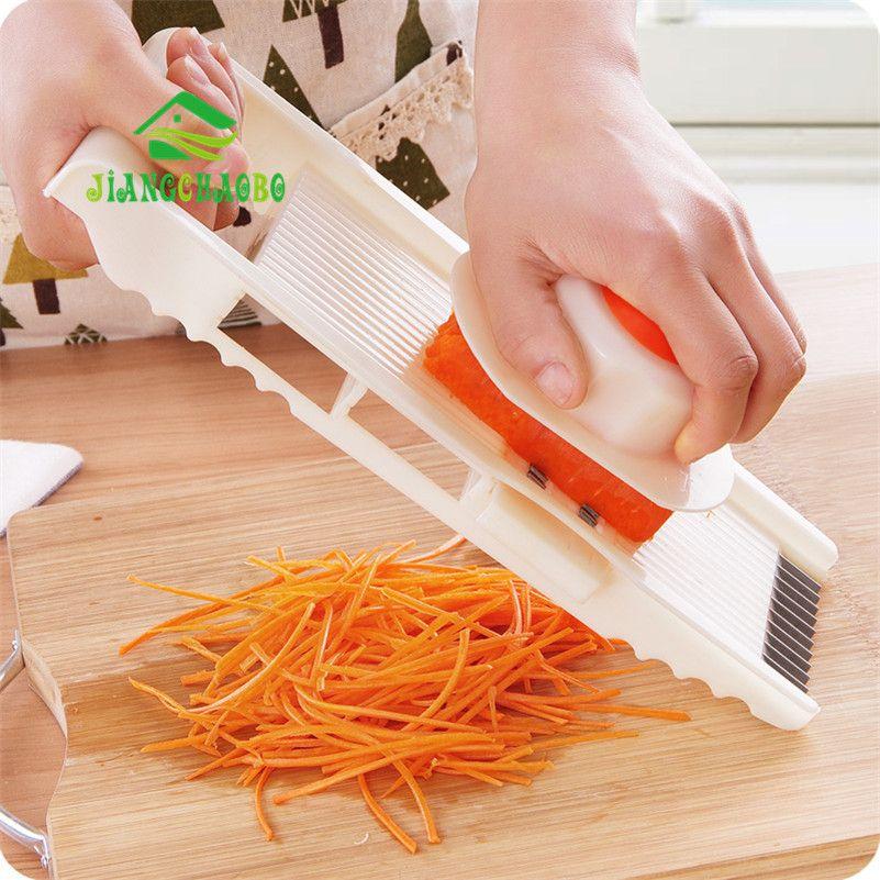 JiangChaoBo Slicer Cortador de Verduras Con 4 Hoja de Acero Inoxidable Rallador Zanahoria Cebolla Dicer máquina de Cortar de Cocina Accesorios