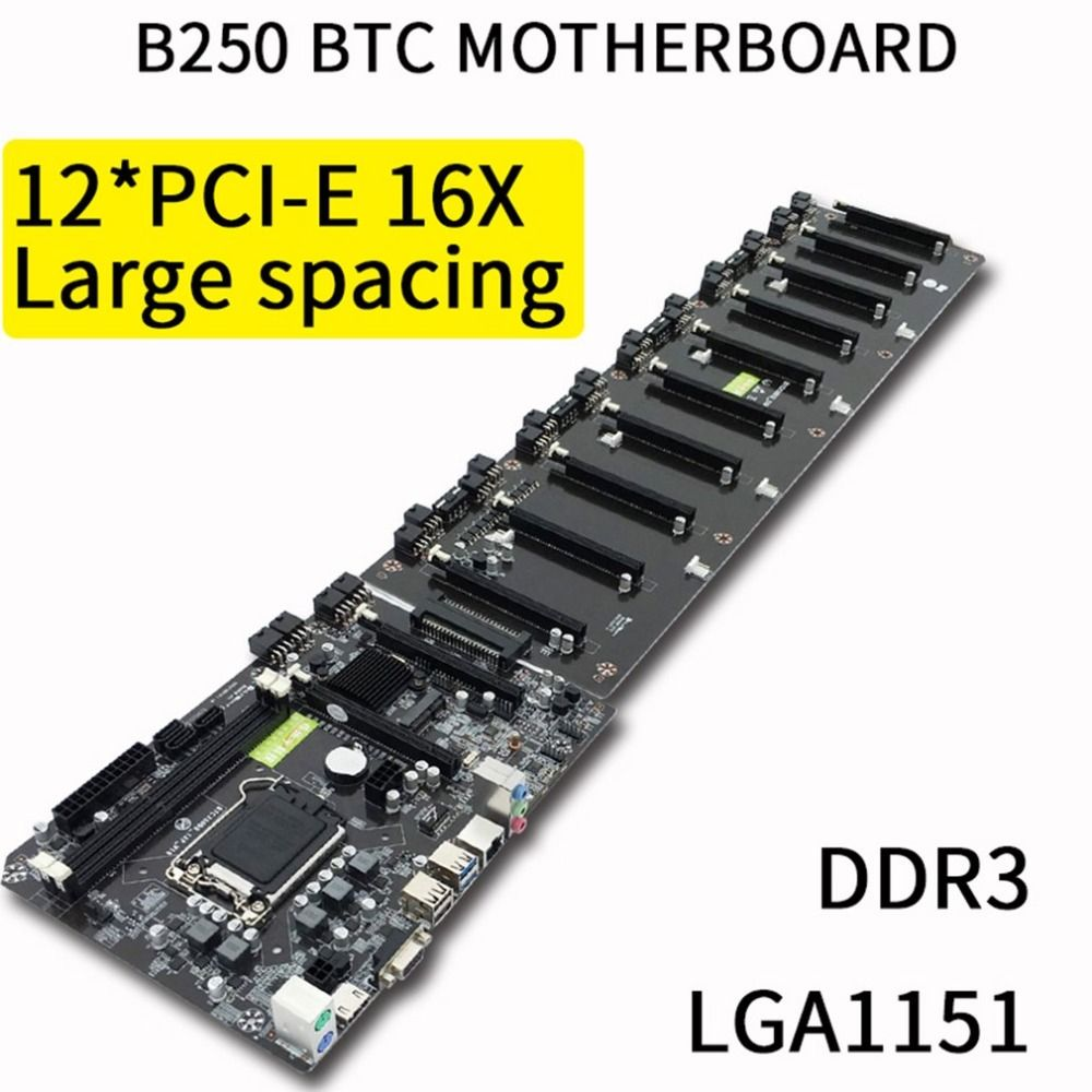 B250 Straight Plug Motherboard DDR3 Sockets 12 x PCI-E X16 Card Sot Integrated CPU LGA 1151 SATA3.0 BTC Motherboard