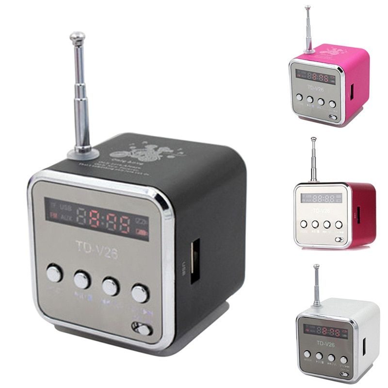 New Portable Mini Speaker Aluminum Alloy Stereo Loudspeaker Music Player With  Radio Support SD Card  @JH