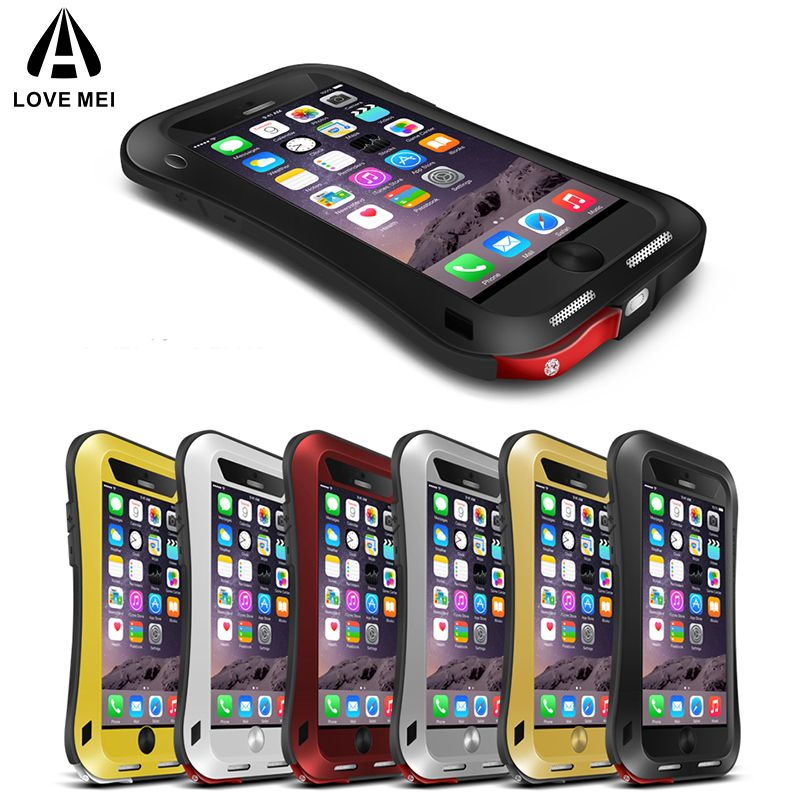 LOVE MEI Small Waist Metal Armor Case For iPhone 6 6s Plus Aluminum Cover Water/Shock/Rain Proof Case For iPhone6 6Plus 6sPlus