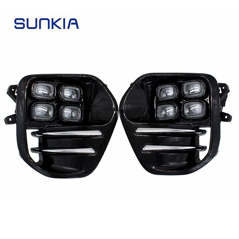 2Pcs/Set SUNKIA for KIA Sportage KX5 2016 2017 2018 DRL Daytime Running Light Fog Lamp Car Styling Day Light Free Shipping