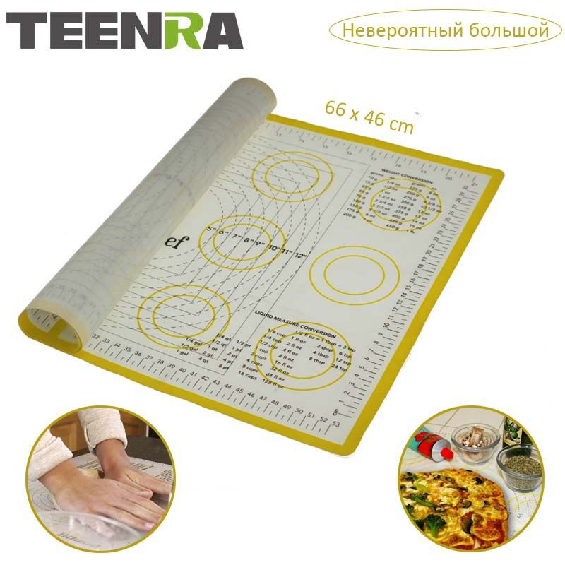 TEENRA Ex-large Silicone Mat for Oven Macaron Silicone Baking Mat Slpat Scale Rolling Dough Mat Non-stick Confectionery Tools